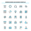 25 Modern Business and business essentials Black and Blue icon Set. Creative Icon Design and logo template