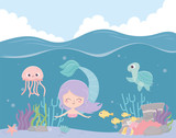 mermaid seahorse jellyfish fishes reef coral cartoon under the sea