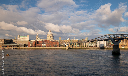 Photo View of St Paul's Cathedral and millennium bridge over river Thames