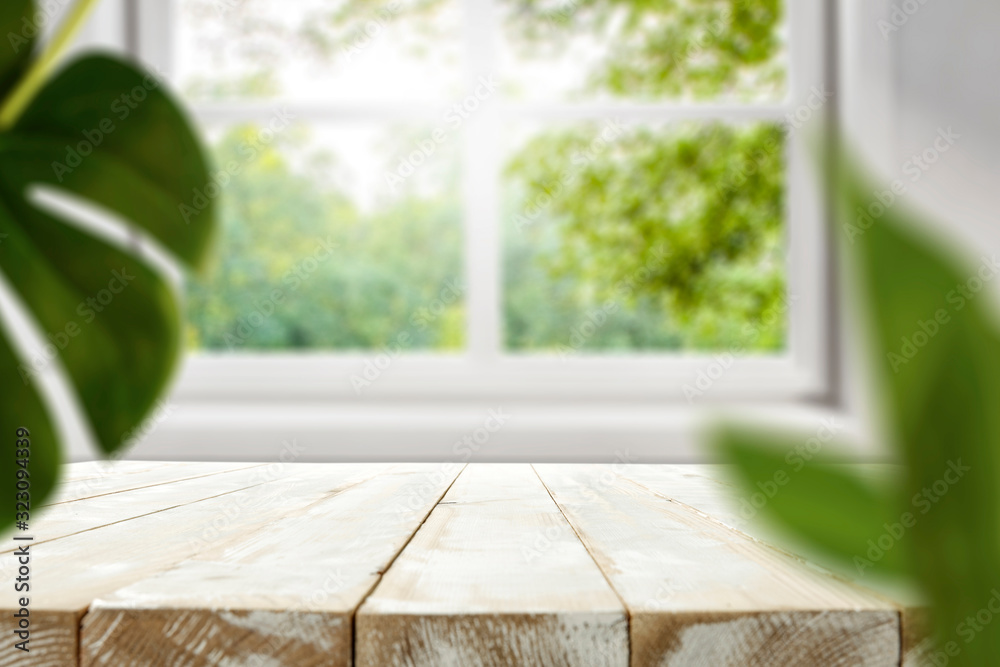 Fototapeta Table background of free space and spring window background