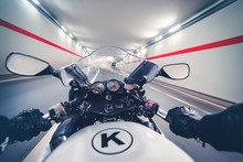 Point Of View Driving A Motorcycle In A Tunnel