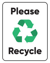 Please Recycle Sign Stickers And Labels On Vector Transparency Background.