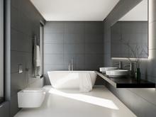 3d Interior Of A Grey Anthracite Bathroom
