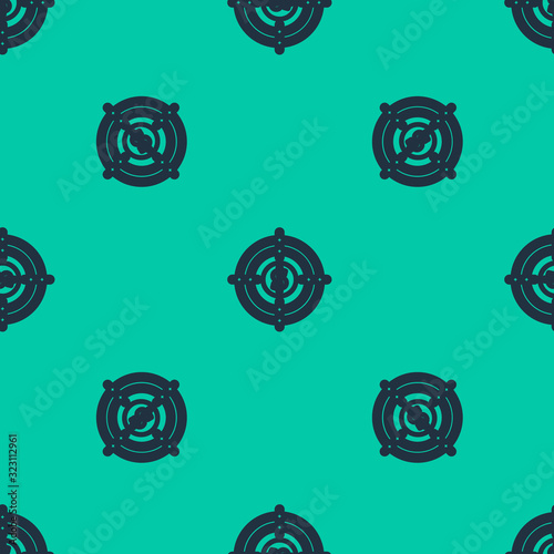 Fototapeta Blue line Target with dollar symbol icon isolated seamless pattern on green background. Investment target icon. Successful business concept. Cash or Money. Vector Illustration obraz na płótnie