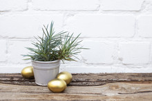 Gold Easter Eggs And Ceramic G...