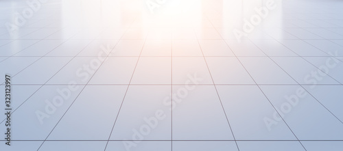 White tile floor background in perspective view Canvas Print
