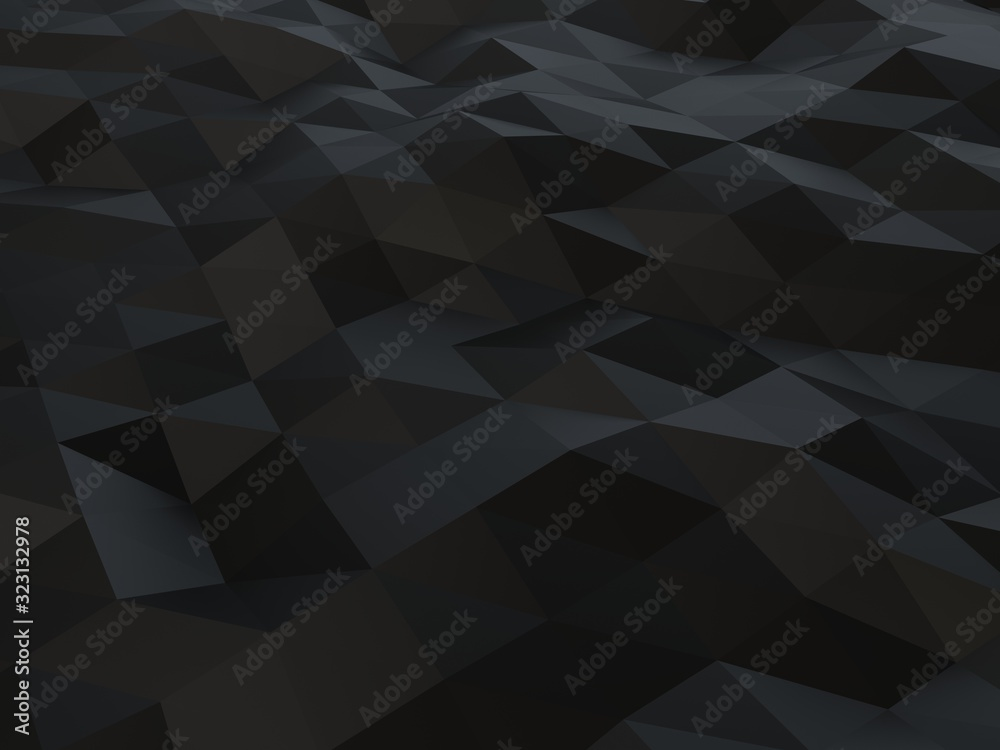 Fototapeta Black low polygon abstract background - triangulated polygons