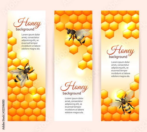 Bee banners vertical Wallpaper Mural