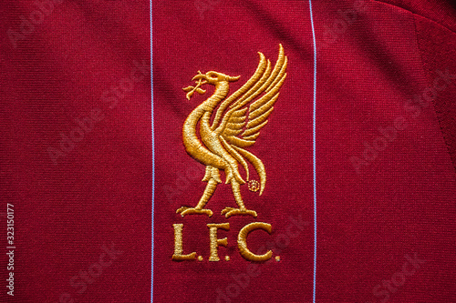 Bangkok, Thailand - February 13, 2020 : Close-up of Liverpool Football Club emblem on the home jersey
