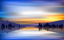 Landscape Of Lagoon In Sunset