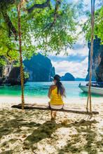 Traveler Woman In Bikini Relaxing On Swing Joy Nature Scenic Landscape Lao Lading Island Beach, Attraction Landmark Tourist Travel Krabi Phuket Thailand Summer Vacation Trips, Tourism Destination Asia