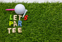Let Par Tee With Golf Ball And Color Tee On Green Grass