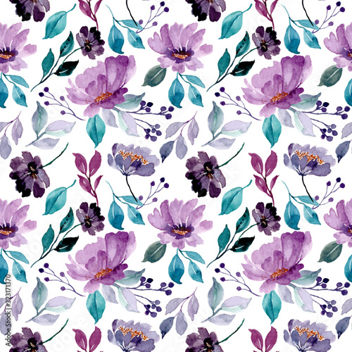 beautiful green purple floral watercolor seamless pattern - fototapety na wymiar