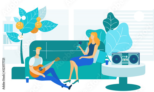 Home Karaoke, Entertainment Vector Illustration Wallpaper Mural