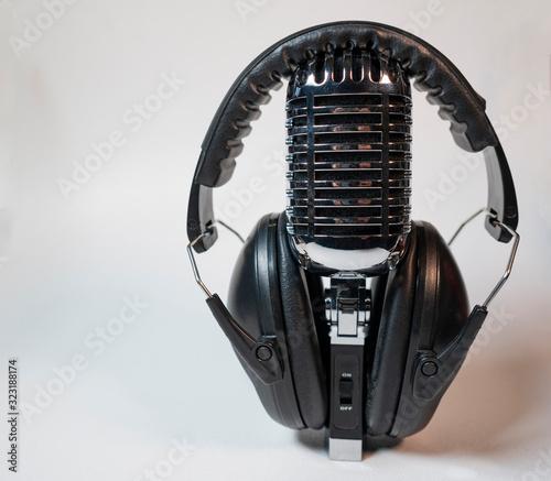 Photo Audiophile Gear Chrome Vintage Microphone Audio Music Headphones Listening Devic