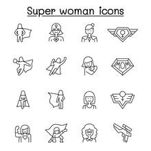 Super Woman Icon Set In Thin L...