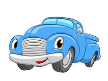 Cartoon Blue Car. A Pickup Car On A White Background.