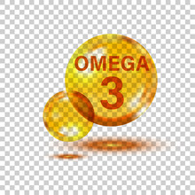 Omega 3 Icon In Flat Style. Pill Capcule Vector Illustration On White Isolated Background. Oil Fish Business Concept.