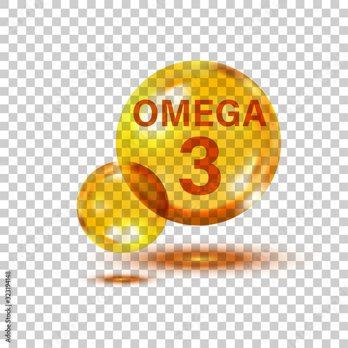 Omega 3 icon in flat style Canvas Print