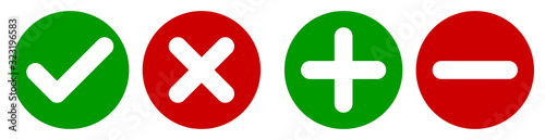 Fototapeta Set of flat round check mark, X mark, plus sign and minus sign icons, buttons isolated on a white background. EPS10 vector file obraz