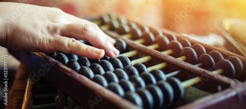 hands of woman choosing  abacus Canvas Print