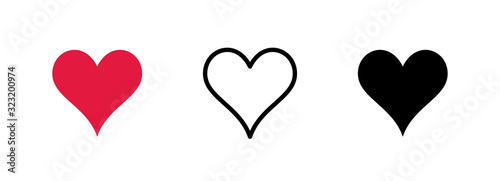 Photo Heart shaped icon set