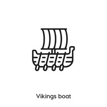 Vikings Boat Icon Vector Sign ...