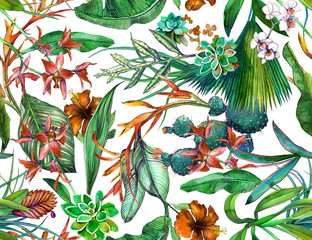 Tropical seamless pattern with tropical flowers, banana leaves. Painted in wa...