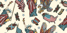 United States Of America Seamless Pattern. Statue Of Liberty, Eagle, Flag, Map. History And Culture. USA Patriotic Background. Old School Tattoo Style