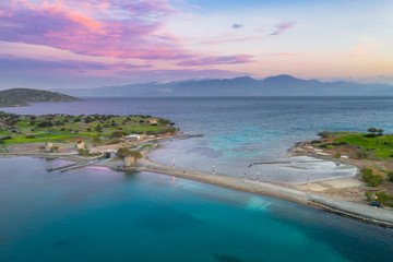 The famous canal of Elounda with the ruins of the old bridge,Crete, Greece.