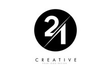 21 2 1 Number Logo Design With A Creative Cut And Black Circle Background.
