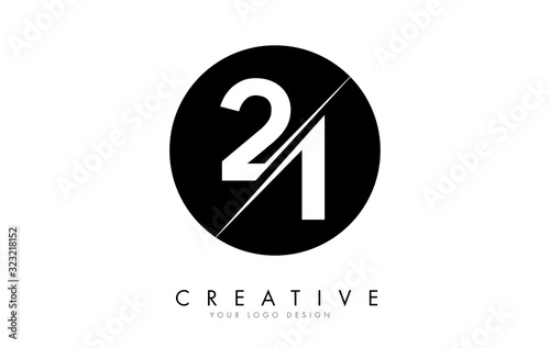 Obraz 21 2 1 Number Logo Design with a Creative Cut and Black Circle Background. - fototapety do salonu