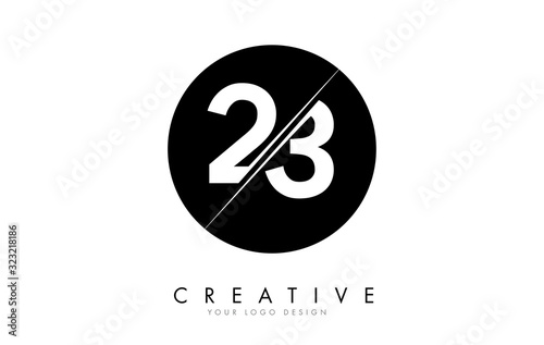 Fotografia 23 2 3 Number Logo Design with a Creative Cut and Black Circle Background