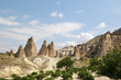 Unusual stones from volcanic rocks in the Red Valley near the village of Chavushin in the Cappadocia region in Turkey.