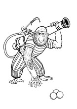 Long Nosed Monkey Pirate With ...
