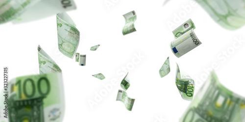 Obraz Euro money falling cash. European banknotes isolated on white background. - fototapety do salonu
