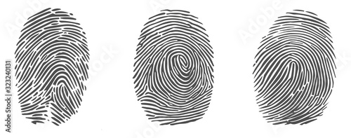 Foto Set of vector fingerprint icons isolated on white background.