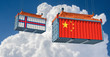 Freight container with China and Faroe Islands flag. 3D Rendering