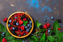 Summer Berries In Assortment, Food Background, Top View Copy Space