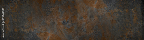 Grunge rusty dark metal background texture banner panorama