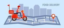 Online Food Delivery Service Vector Illustration. Delivery Boy Riding Red Motorbike On Map. Fast Food Delivery Design Template For Landing Page, Web, Mobile App, Poster And Flyer.