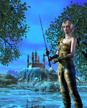 Warrior Woman In A Medieval Dress Near A Castle With Lake