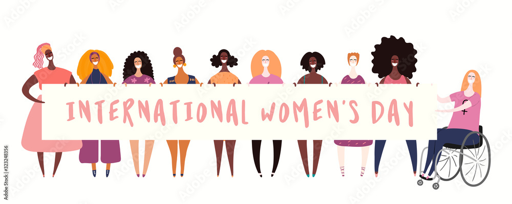 Fototapeta Hand drawn vector illustration of diverse girls holding a banner. Isolated people on white. Flat style design. Concept, element for feminism, womens day card, poster, banner. Female cartoon characters