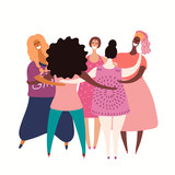 Hand drawn vector illustration of diverse beautiful modern girls together. Isolated on white. Flat style design. Concept, for feminism, womens day card, poster, banner. Female cartoon characters.
