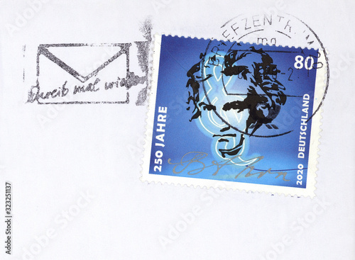 Briefmarke stamp Germany Deutschland gestempelt used frankiert Beethoven 250 Jah Canvas Print