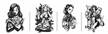 Set Of T-shirt Design Art Nouveau Woman Tattoo And T-shirt Design, Vector Illustration.