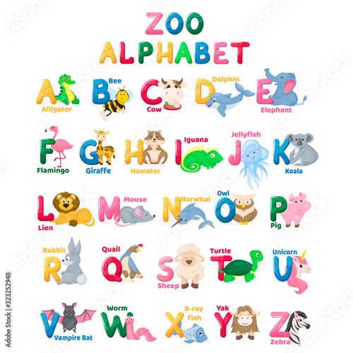 Zoo alphabet animal letters with cute characters Canvas Print