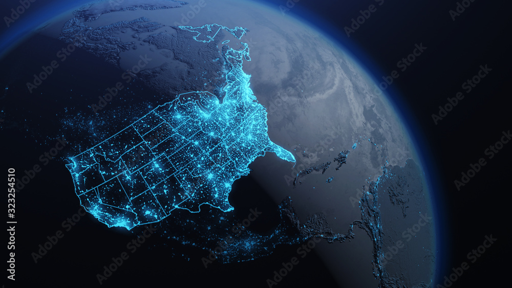 Fototapeta 3D illustration of USA and North America from space at night with city lights showing human activity in United States