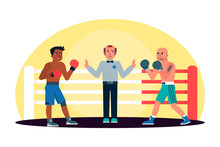 Two Men Engage In Boxing Fight...