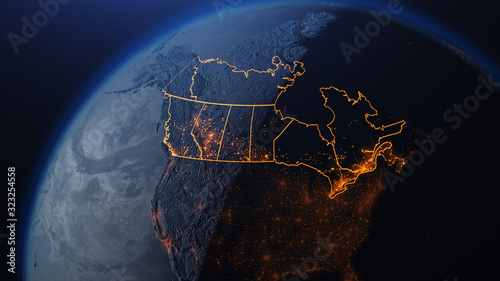 Obraz 3D illustration of Canada and North America from space at night with city lights showing human activity in United States - fototapety do salonu